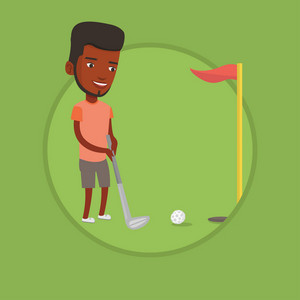 African-american golfer playing golf. Golfer hitting the ball in the hole with red flag. Professional golfer on the golf course. Vector flat design illustration in the circle isolated on background.