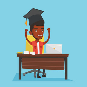 African-american graduate sitting at the table with laptop and diploma. Graduate in graduation cap using laptop for education. Online graduation concept. Vector flat design illustration. Square layout