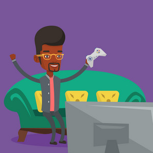 African-american guy playing video game. Excited young man with console in hands playing video game at home. Man celebrating his victory in video game. Vector flat design illustration. Square layout.