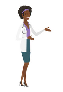 African-american happy doctor in medical gown gesturing. Full length of doctor gesturing with her hands. Doctor laughing and gesturing. Vector flat design illustration isolated on white background.