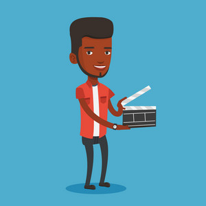African-american happy man working with a clapperboard. Smiling man holding an open clapperboard. Cheerful man holding blank movie clapperboard. Vector flat design illustration. Square layout.