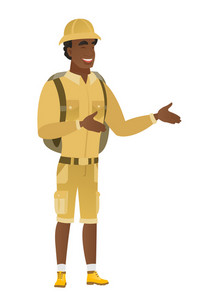 African-american happy traveler gesturing. Full length of cheerful traveler gesturing with his hands. Traveler laughing and gesturing. Vector flat design illustration isolated on white background.