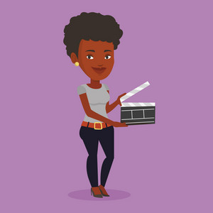 African-american happy woman working with a clapperboard. Smiling woman holding an open clapperboard. Cheerful woman holding blank movie clapperboard. Vector flat design illustration. Square layout.