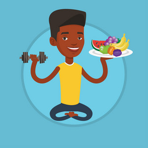 African-american healthy sportsman sitting with fruits and dumbbell. Man choosing healthy lifestyle. Healthy lifestyle concept. Vector flat design illustration in the circle isolated on background.
