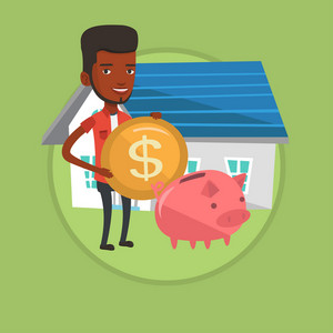 African-american house owner putting dollar coin in piggy bank on the background of house. Man investing money in real estate. Vector flat design illustration in the circle isolated on background.