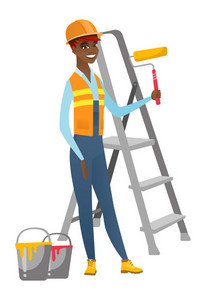 African-american house painter in uniform holding paint roller in hands. Smiling house painter standing near step-ladder and paint cans. Vector flat design illustration isolated on white background.