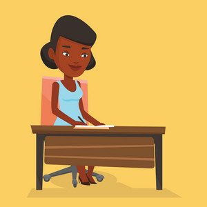 African-american journalist working at the table in office. Journalist sitting at the table and writing notes in notebook. Journalist writing an article. Vector flat design illustration. Square layout
