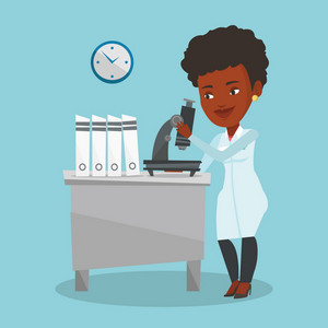 African-american laboratory assistant working with microscope. Young female scientist working at the laboratory. Laboratory assistant using a microscope. Vector flat design illustration. Square layout