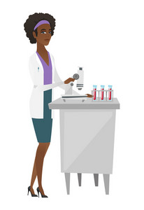 African-american laboratory assistant working with microscope. Young scientist using microscope to analyze samples of blood in test tubes. Vector flat design illustration isolated on white background.