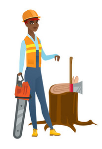 African-american lumberjack holding chainsaw. Lumberjack in workwear and hard hat standing near stump with axe. Lumberjack chopping wood. Vector flat design illustration isolated on white background.