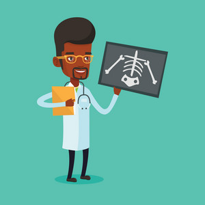African-american male doctor examining a radiograph. Young smiling doctor looking at a chest radiograph. Male doctor observing a skeleton radiograph. Vector flat design illustration. Square layout.