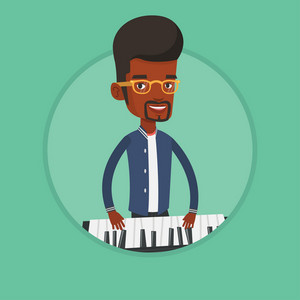 African-american male pianist playing on synthesizer. Young smiling musician playing piano. Pianist playing upright piano. Vector flat design illustration in the circle isolated on background.