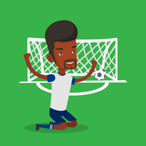 African-american male soccer player celebrating scoring goal. Young soccer player kneeling with raised arms on the background of gate with ball in it. Vector flat design illustration. Square layout.