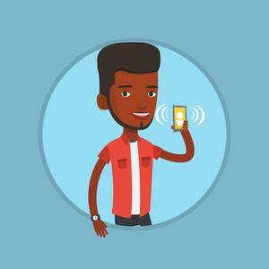African-american man answering a phone call. Young man holding ringing mobile phone. Man standing with ringing phone in hand. Vector flat design illustration in the circle isolated on background.