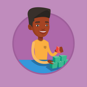 African-american man building his social network. Young man making social network pyramid. Networking and communication concept. Vector flat design illustration in the circle isolated on background.