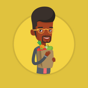 African-american man carrying grocery shopping bag with vegetables. Young man holding grocery shopping bag with healthy food. Vector flat design illustration in the circle isolated on background.