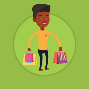 African-american man carrying shopping bags. Young smiling man holding shopping bags. Man standing with a lot of shopping bags. Vector flat design illustration in the circle isolated on background.