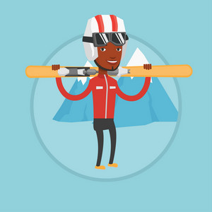 African-american man carrying skis. Sportsman standing with skis on his shoulders on the background of mountain. Young man skiing. Vector flat design illustration in the circle isolated on background