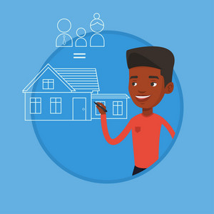 African-american man drawing a house with a family. Man drawing family house. Man dreaming about future life in a new family house. Vector flat design illustration in the circle isolated on background
