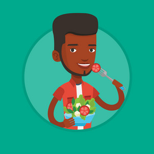 African-american man eating healthy vegetable salad. Man enjoying vegetable salad. Man holding fork and bowl with vegetable salad. Vector flat design illustration in the circle isolated on background.