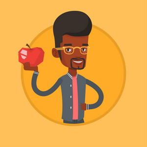African-american man enjoying fresh healthy apple. Man holding an apple in hand. Man eating an apple. Concept of healthy nutrition. Vector flat design illustration in the circle isolated on background