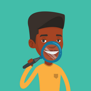 African-american man examining his teeth with magnifier. Smiling young man holding a magnifying glass in front of his teeth. Concept of teeth examining. Vector flat design illustration. Square layout.