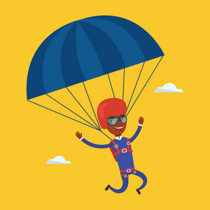 African-american man flying with a parachute. Young man paragliding on a parachute. Professional parachutist descending with a parachute in a blue sky. Vector flat design illustration. Square layout.