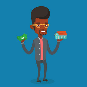 African-american man holding money and model of house. Happy man having loan for house. Man got loan for buying a new house. Real estate loan concept. Vector flat design illustration. Square layout.