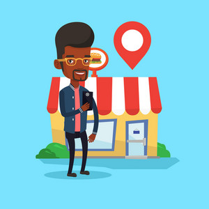 African-american man holding smartphone with mobile app for looking for restaurant. Man using smartphone on the background of restaurant with map pointer. Vector flat design illustration.Square layout