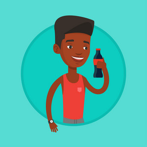 African-american man holding soda beverage in bottle. Young man standing with bottle of soda. Happy man drinking soda from bottle. Vector flat design illustration in the circle isolated on background.
