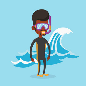 African-american man in diving suit, flippers, mask and tube standing on the background of wave. Diver enjoying snorkeling. Diver ready for snorkeling. Vector flat design illustration. Square layout.