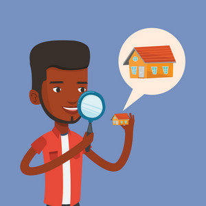 African-american man looking for a new house in real estate market. Young man using a magnifying glass for seeking a new house in real estate market. Vector flat design illustration. Square layout.