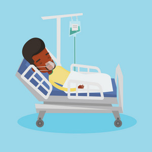 African-american man lying in hospital bed with oxygen mask. Man during medical procedure with drop counter. Patient recovering in bed in hospital. Vector flat design illustration. Square layout.