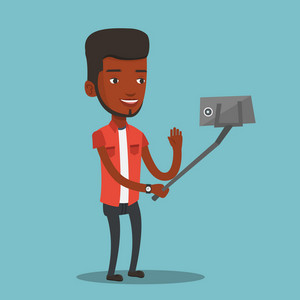 African-american man making selfie with a selfie-stick. Smiling man making selfie with cellphone. Young man taking selfie and waving his hand. Vector flat design illustration. Square layout.