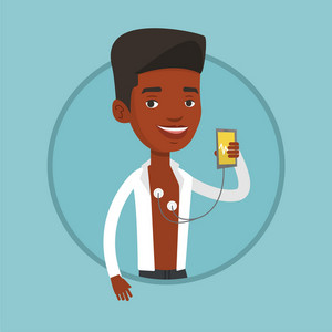 African-american man measuring heart rate pulse with smartphone app. Young man checking blood pressure with smartphone application. Vector flat design illustration in the circle isolated on background