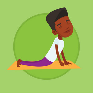 African-american man meditating in yoga upward dog position. Young man practicing yoga upward dog pose. Man doing yoga on yoga mat. Vector flat design illustration in the circle isolated on background