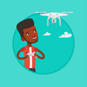 African-american man operating a drone with remote control. Man flying drone with remote control. Young man controling a drone. Vector flat design illustration in the circle isolated on background.