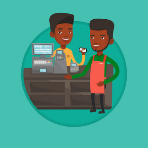 African-american man paying wireless with smartphone at supermarket checkout. Customer making payment for purchase with smartphone. Vector flat design illustration in the circle isolated on background