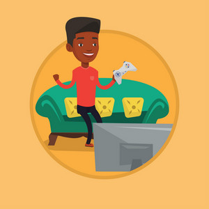 African-american man playing video game on the television. Excited young man with game console in hands playing video game at home. Vector flat design illustration in the circle isolated on background