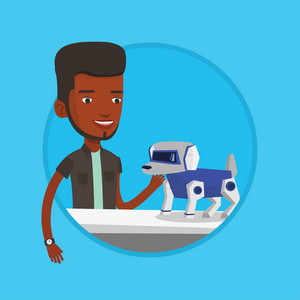 African-american man playing with a robotic dog. Man standing near the table with a robotic dog on it. Man stroking a robotic dog. Vector flat design illustration in the circle isolated on background