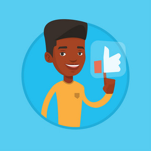 African-american man pressing social network button. Man pressing like button. Man pressing social like button with thumb up. Vector flat design illustration in the circle isolated on background.