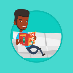 African-american man reading a magazine. Man sitting on sofa and reading magazine. Man sitting on the couch with magazine in hands. Vector flat design illustration in the circle isolated on background