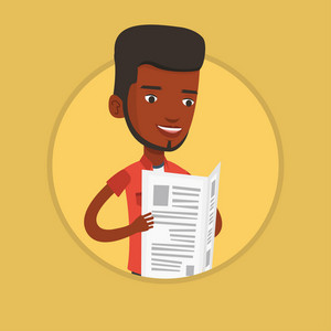 African-american man reading the newspaper. Young smiling man reading good news in newspaper. Man standing with newspaper in hands. Vector flat design illustration in the circle isolated on background