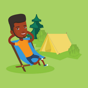 African-american man relaxing in camping. Man sitting in folding chair on the background of camping site with tent. Man enjoying his vacation in camping. Vector flat design illustration. Square layout