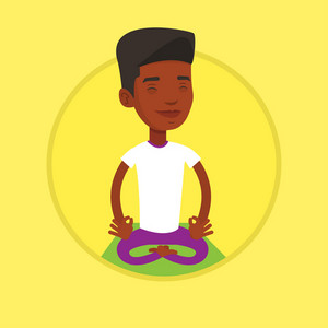 African-american man relaxing in the yoga lotus position. Young man meditating in yoga lotus pose. Man doing yoga on yoga mat. Vector flat design illustration in the circle isolated on background.