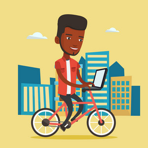 African-american man riding a bicycle to work in the city. Business man with laptop on a bike. Business man working on a laptop while riding a bicycle. Vector flat design illustration. Square layout.