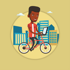 African-american man riding a bike to work. Cyclist riding bike in the city. Businessman working on laptop while riding a bike. Vector flat design illustration in the circle isolated on background.