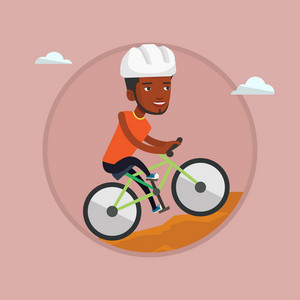 African-american man riding on mountain bike. Young confident man tourist in helmet traveling in the mountains on mountain bike. Vector flat design illustration in the circle isolated on background.