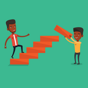 African-american man runs up the career ladder while another man builds this ladder. Businessman climbing the career ladder. Concept of business career. Vector flat design illustration. Square layout.