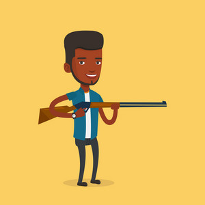 African-american man shooting skeet with shotgun. Hunter ready to hunt with hunting rifle. Man aiming with a hunter gun. Hunter holding a long rifle. Vector flat design illustration. Square layout.